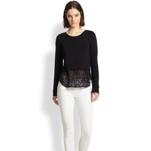 Theory Jersey Bente Lace-hem Size P Black Sweater